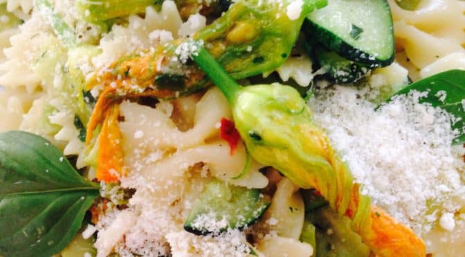 What's Cooking?….Caramelised Leek and Zucchini Flower Pasta