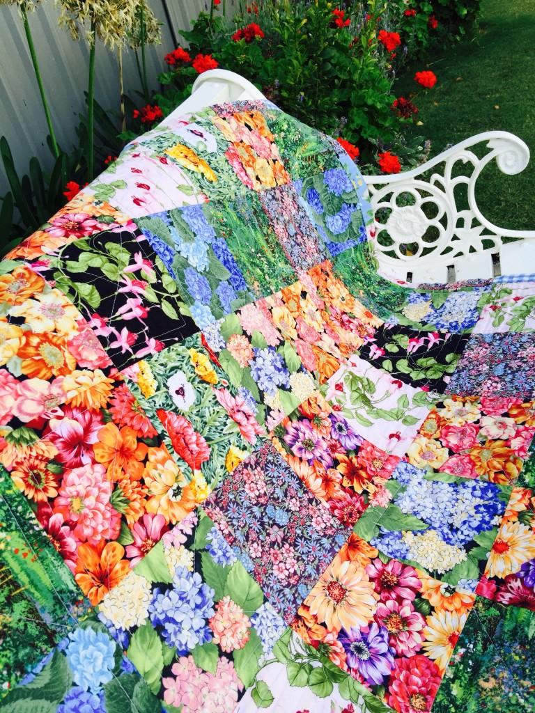 """Susie's Garden Lap Quilt"" Free Charity Quilt Pattern designed by Susie from Susie's Scraps"