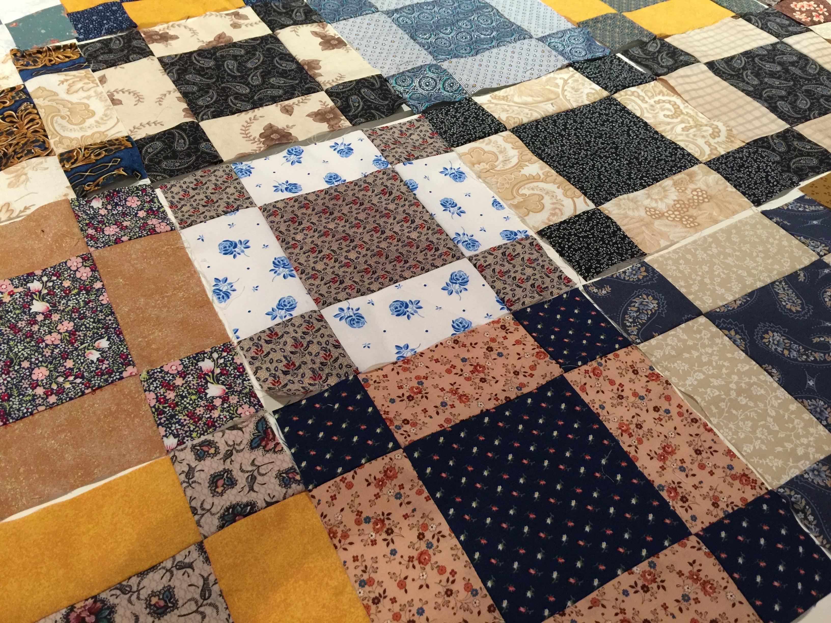 uneven nine patch quilt pattern antique style