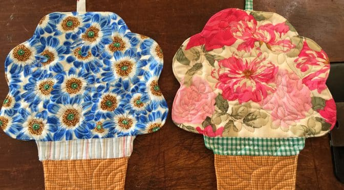 Pot-Holders Quilted Flower Pots