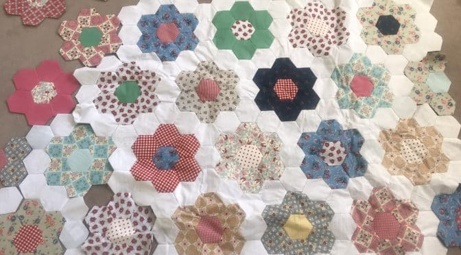 Grandmother's Flower Garden Quilt in Progress